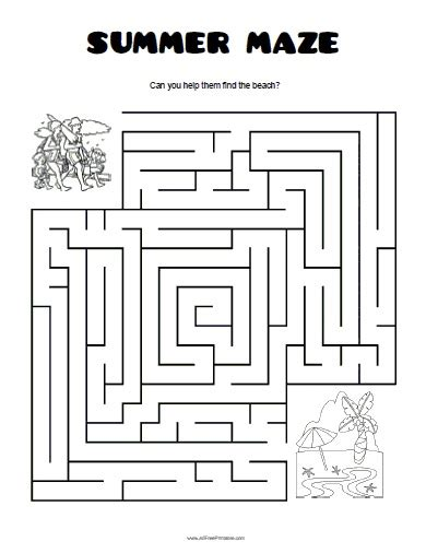 printable beach maze summer maze free printable allfreeprintable com