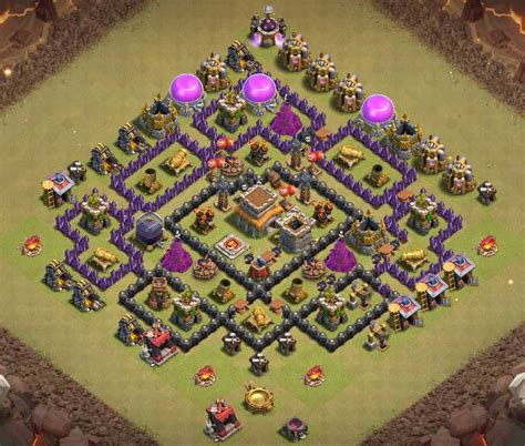coc layout anti gowipe th8 coc best th8 war base anti dragon with bomb tower cocbases