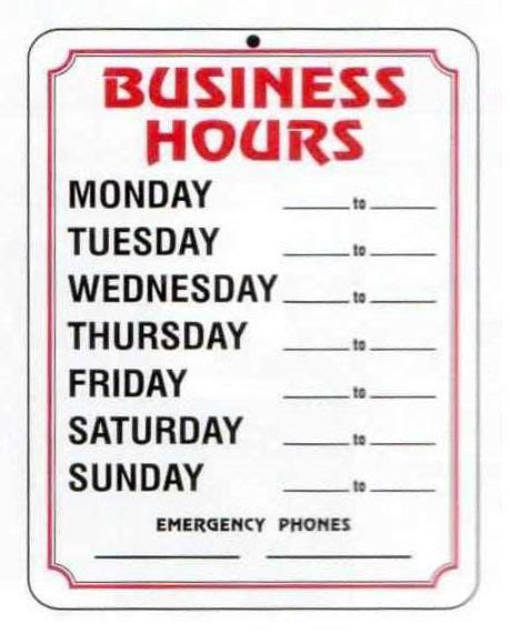 business hours sign template 4 best images of free printable business hours sign