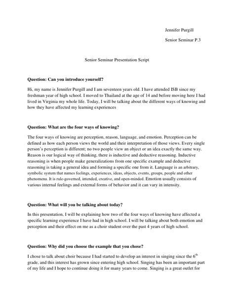 Senior Sem Presentation Script Presentation Script Template