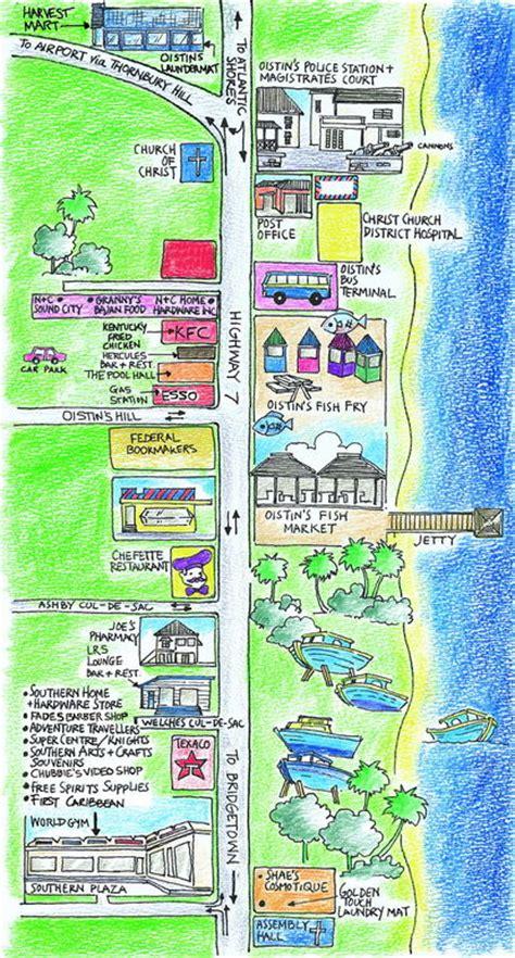 printable barbados road map barbados flora karte