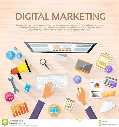 Desk Marketing Communication digital marketing workspace desktop workstation stock