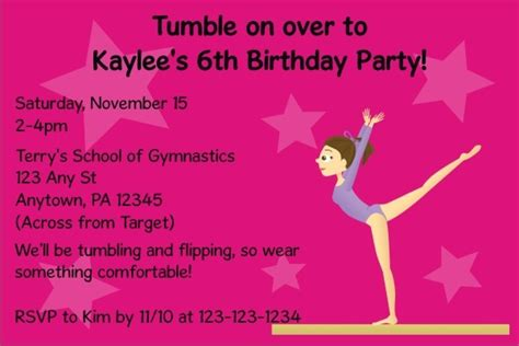 gymnastics invitation personalized party invites gymnastics invitation personalized party invites