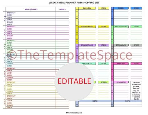 editable grocery shopping list template editable meal planner grocery list template printable