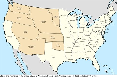 map of the united states in 1850 file united states central map 1858 05 11 to 1859 02 14