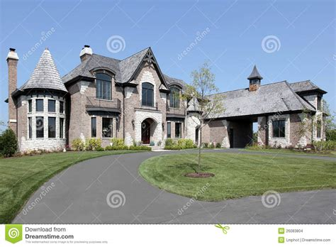 Free Download Residential Building Plans by Suburban Brick Home With Circular Driveway Stock Images