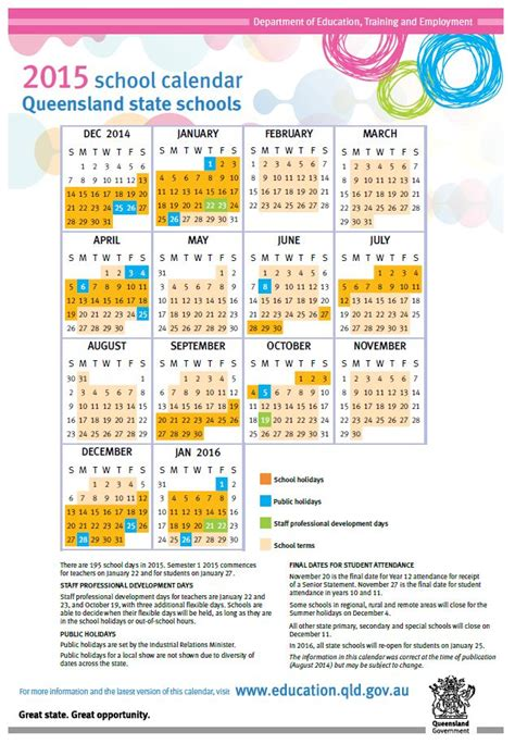 printable queensland calendar 2015 2015 school calendar