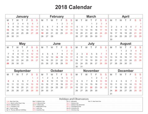 printable monthly calendar with holidays 2018 free printable calendar 2018 with holidays