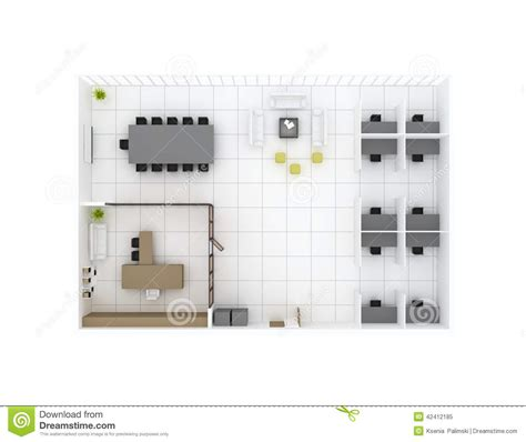 ou center travel desk office floor plan top view stock illustration image
