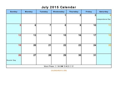 Calendar Template July 2015 8 Best Images Of Calendar July 2015 Printable Pdf July