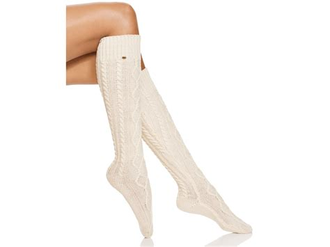 cable knit knee high socks lyst ugg 174 classic cable knit knee high socks in