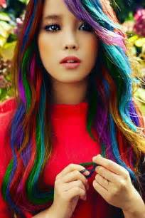 asian with colored 2014 ombre highlights trend 30 rainbow colored