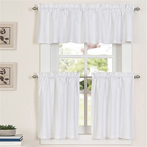 24 Inch Kitchen Curtains Buy Newport 24 Inch Kitchen Window Curtain Tier Pair In White From Bed Bath Beyond