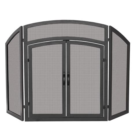 fireplace screen with doors uniflame arch top black wrought iron 3 panel fireplace