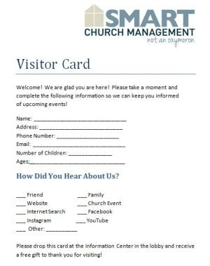 church volunteer info card template downloadable church forms