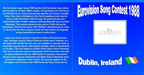eurovision song contest tabelle eurovision song contest eurovision song contest 1988