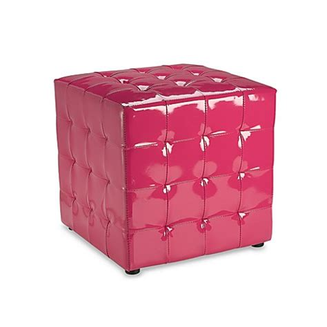 Pink Tufted Ottoman Tufted Patent Leather Ottoman Pink Bed Bath Beyond