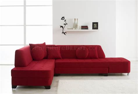 red sectional couches red fabric modern convertible sectional sofa w wood legs