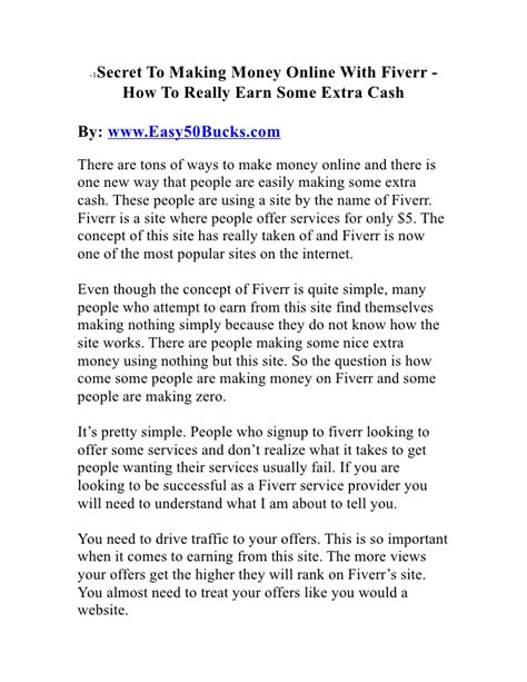 Secret To Making Money Online - secret to making money online with fiverr how to really earn some e