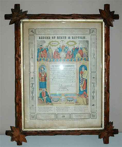 Record Of Births 19th Century Record Of Birth Baptism In Crisscross Frame From Acornfarmantiques On