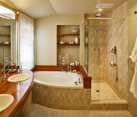 corner bathtub shower bathroom contemporary with none