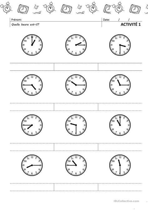 L'heure: Activité 1 fiche d'exercices - Fiches