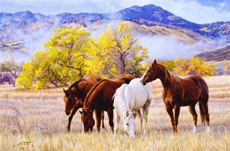 imagenes de paisajes y caballos im 225 genes arte pinturas hermosos caballos en paisajes