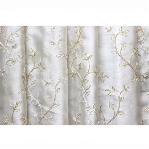 embroidered drapery fabric royal leaves embroidered sheer curtain fabric drapery window