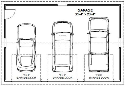 average 3 car garage size 36x24 3 car garages 864 sq ft pdf floor plans 5