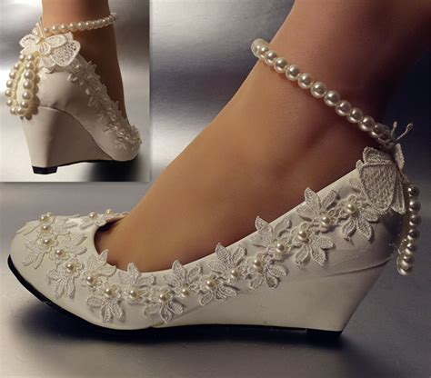 details about lace white ivory wedding shoes
