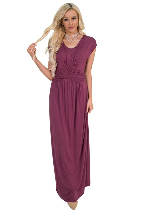 Modest Maxi Dresses by Quot Athena Quot Modest Maxi Dress W Ruched Empire Waist In Maroon