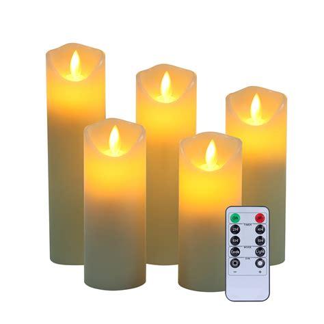 luminara candles set of 5 luminara flameless pillar ivory candles moving wick led timer ebay