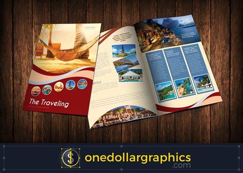 bi fold travel brochure template design  illustrator ai indesign indd formats