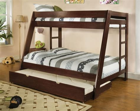 twin full bunk bed with trundle twin over full bunk bed solid wood espresso finish trundle