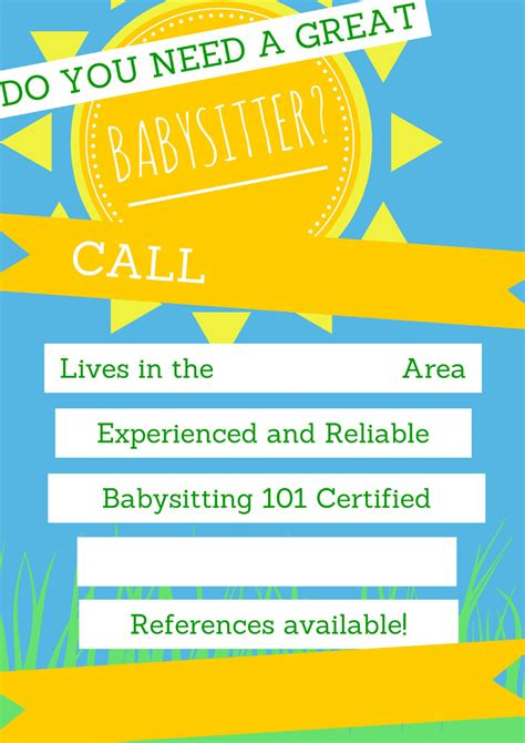 Babysitting Flyer Download Free Premium Templates Forms Sles For Jpeg Png Pdf Word Babysitting Flyer Template Pdf