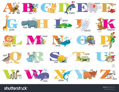 alphabet with animals stock vector alphabet children animals vector stock vector