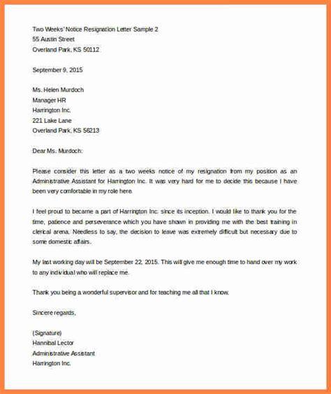 Resignation Letter Sle Kuwait Exle Of 2 Week Notice Botbuzz Co