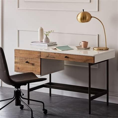 Reclaimed Wood Desk Furniture by Reclaimed Wood Lacquer Desk West Elm
