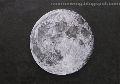 Drawing The Moon by Sourcewing Realistic Drawing Of Moon