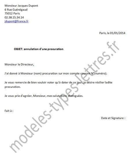 Exemple De Lettre De Procuration Pour Vente De Maison modele de lettre pour donner procuration a quelqu un