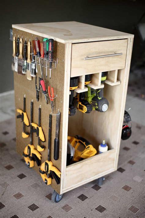 build  diy mobile tool cart  pegboard