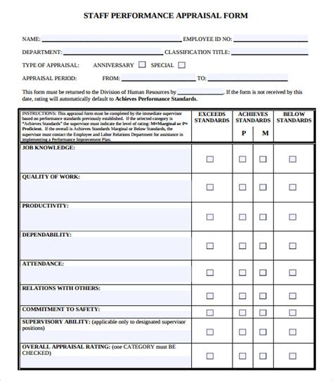 rating template sle performance evaluation form 7 documents in