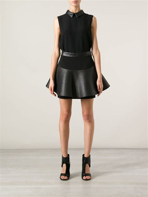david koma flared leather skirt in black lyst