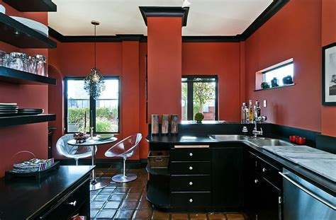Kitchen Countertops Backsplash by Red Black And White Interiors Living Rooms Kitchens