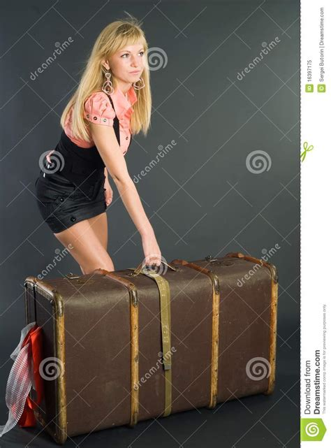beautiful suitcases beautiful girl with suitcase royalty free stock photo