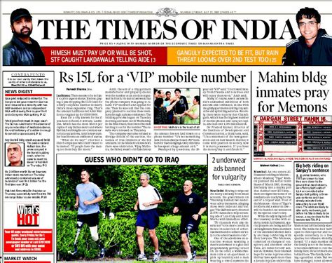 editorial section of times of india today s front page times of india bombay edition