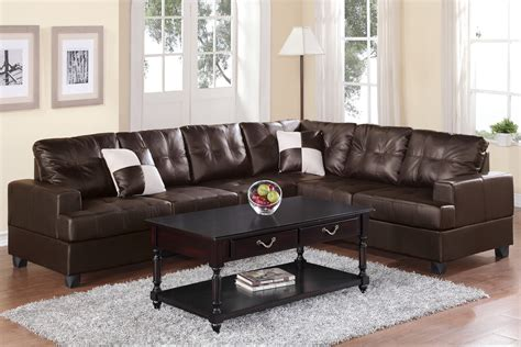 espresso leather sectional 2 pcs espresso faux leather sectional set by poundex