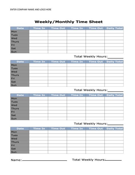 8 best images of printable monthly time sheets free