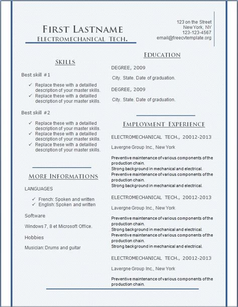 free cv resume templates 135 to 141 free cv template