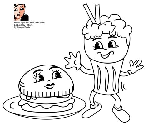 embroidery pattern hamburger  root beer float
